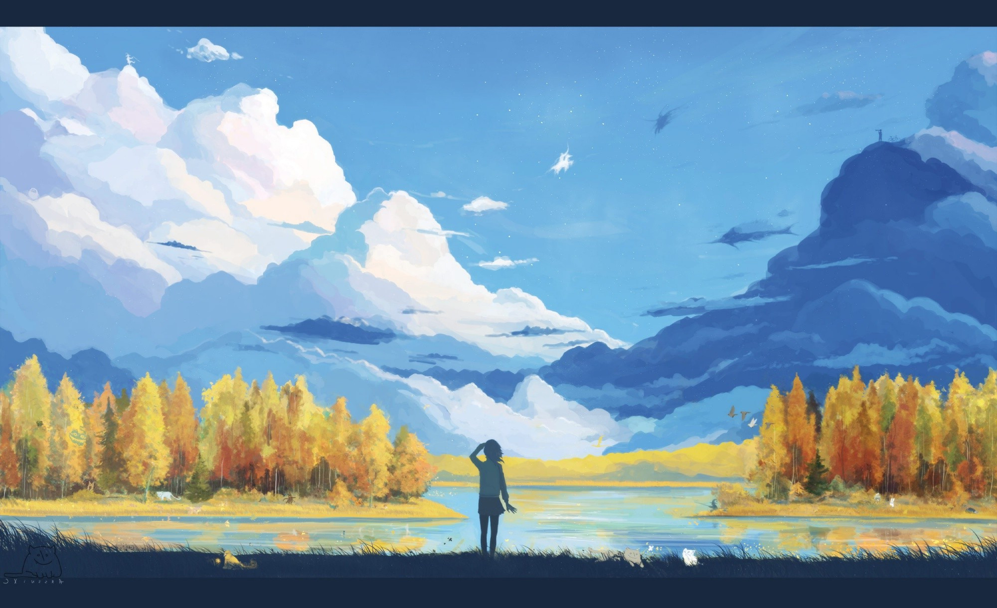 Best ideas about Anime Landscape Wallpaper . Save or Pin anime Landscape Nature Fantasy Art Minimalism Now.