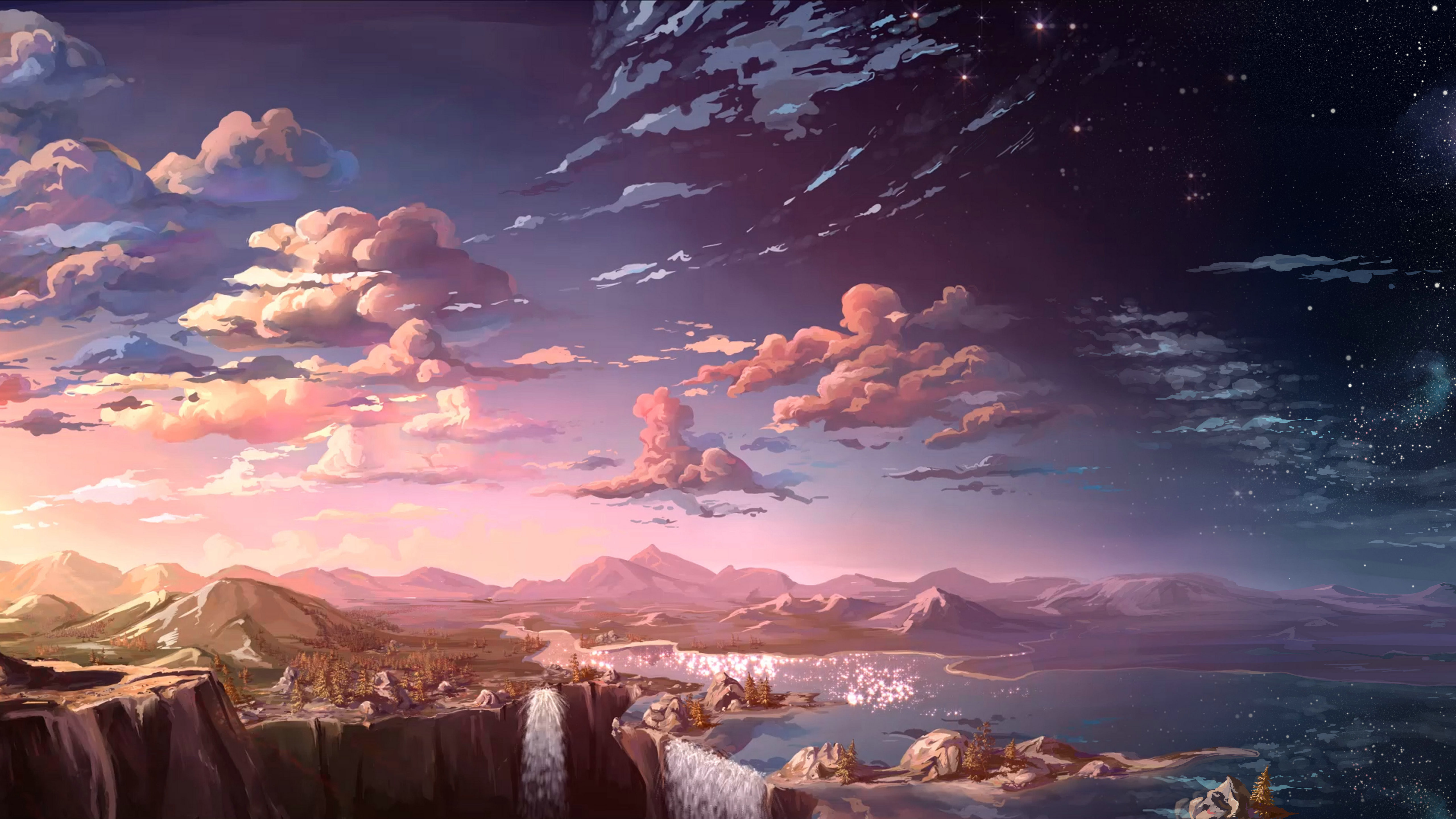 Best ideas about Anime Landscape Wallpaper . Save or Pin Anime Landscape Waterfall Cloud 5k HD Anime 4k Now.
