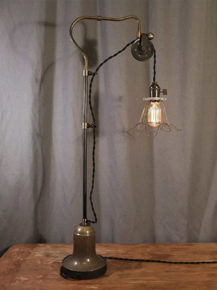 Best ideas about Antique Desk Lamp . Save or Pin Vintage Industrial Pulley Desk Lamp Task Cage Lamp Now.