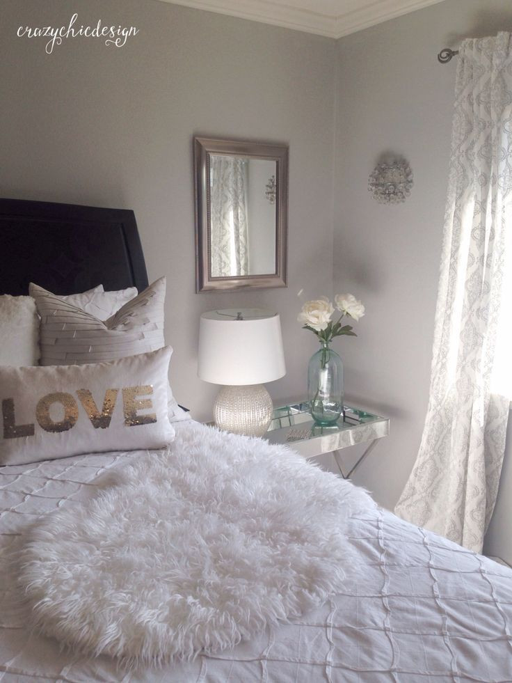 Best ideas about Apartment Bedroom Ideas . Save or Pin Lightweight white curtains with a delicate silver pattern Now.