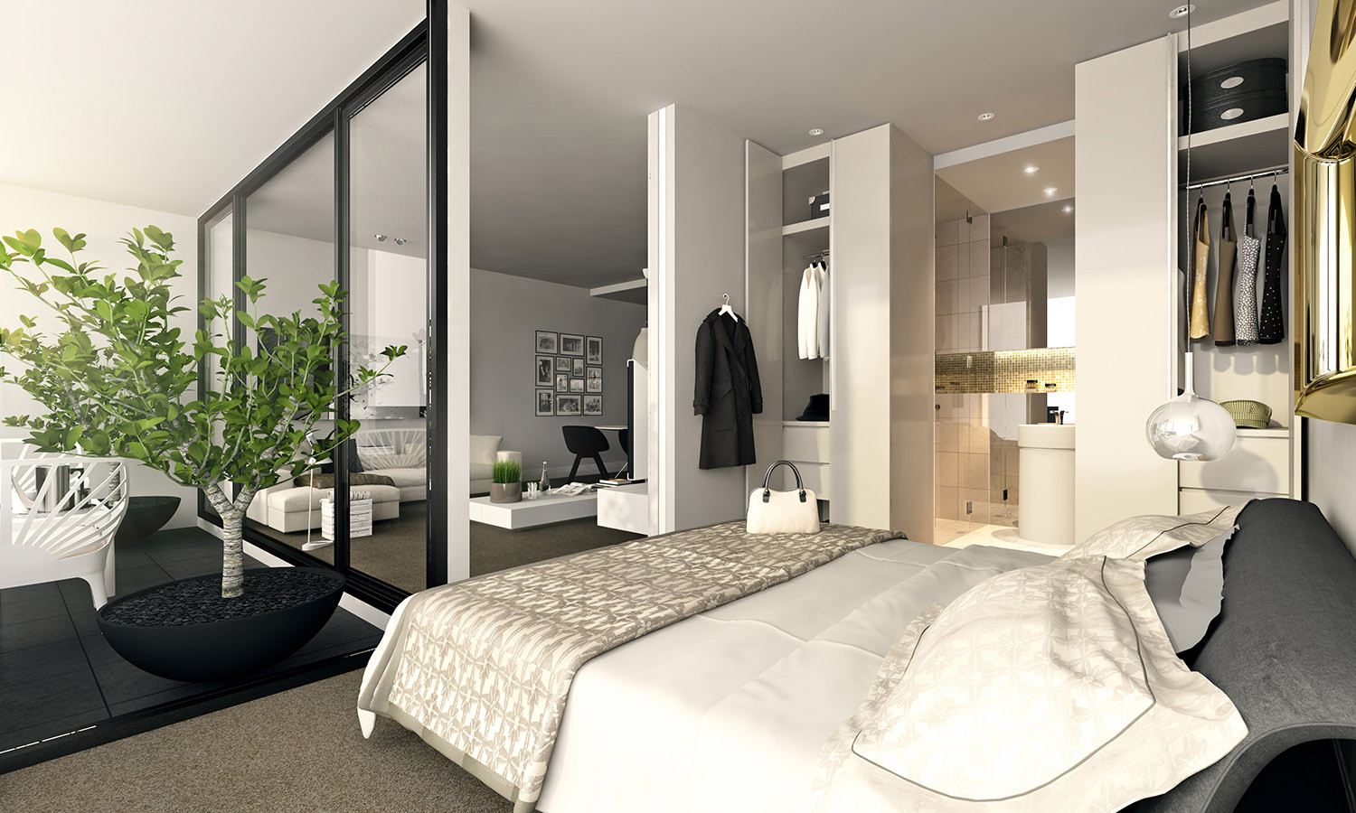 Best ideas about Apartment Bedroom Ideas . Save or Pin Studio Apartment Interiors Inspiration Now.