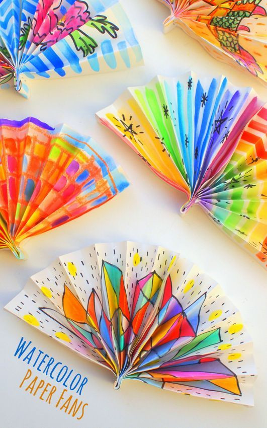 Best ideas about Arts And Craft Ideas For Kids . Save or Pin Watercolor Painted Paper Fans Now.