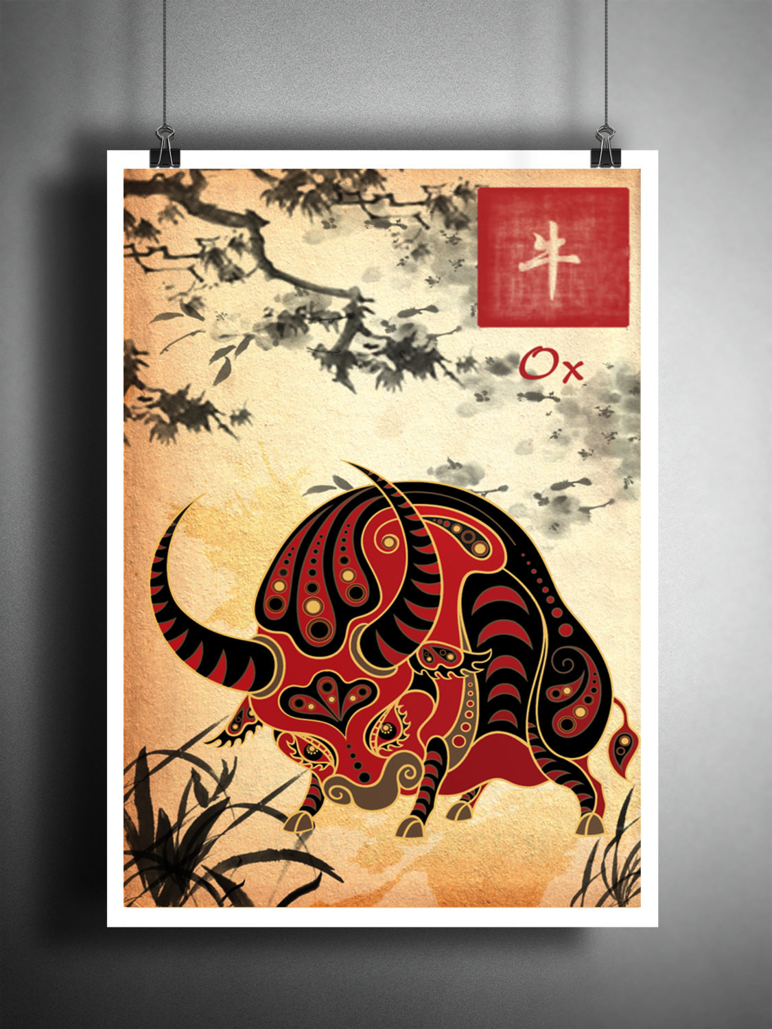 Best ideas about Asian Wall Art . Save or Pin Chinese Zodiac Ox asian wall art astrology art print Now.