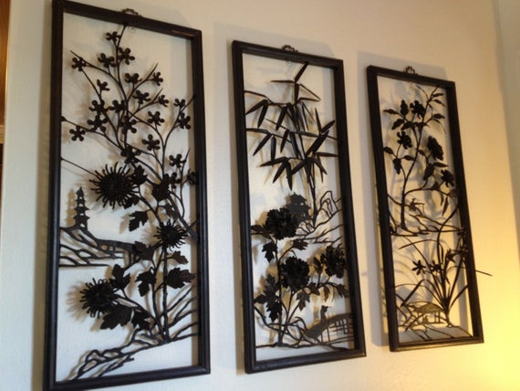Best ideas about Asian Wall Art . Save or Pin Mid Century Asian Metal Wall Art Now.