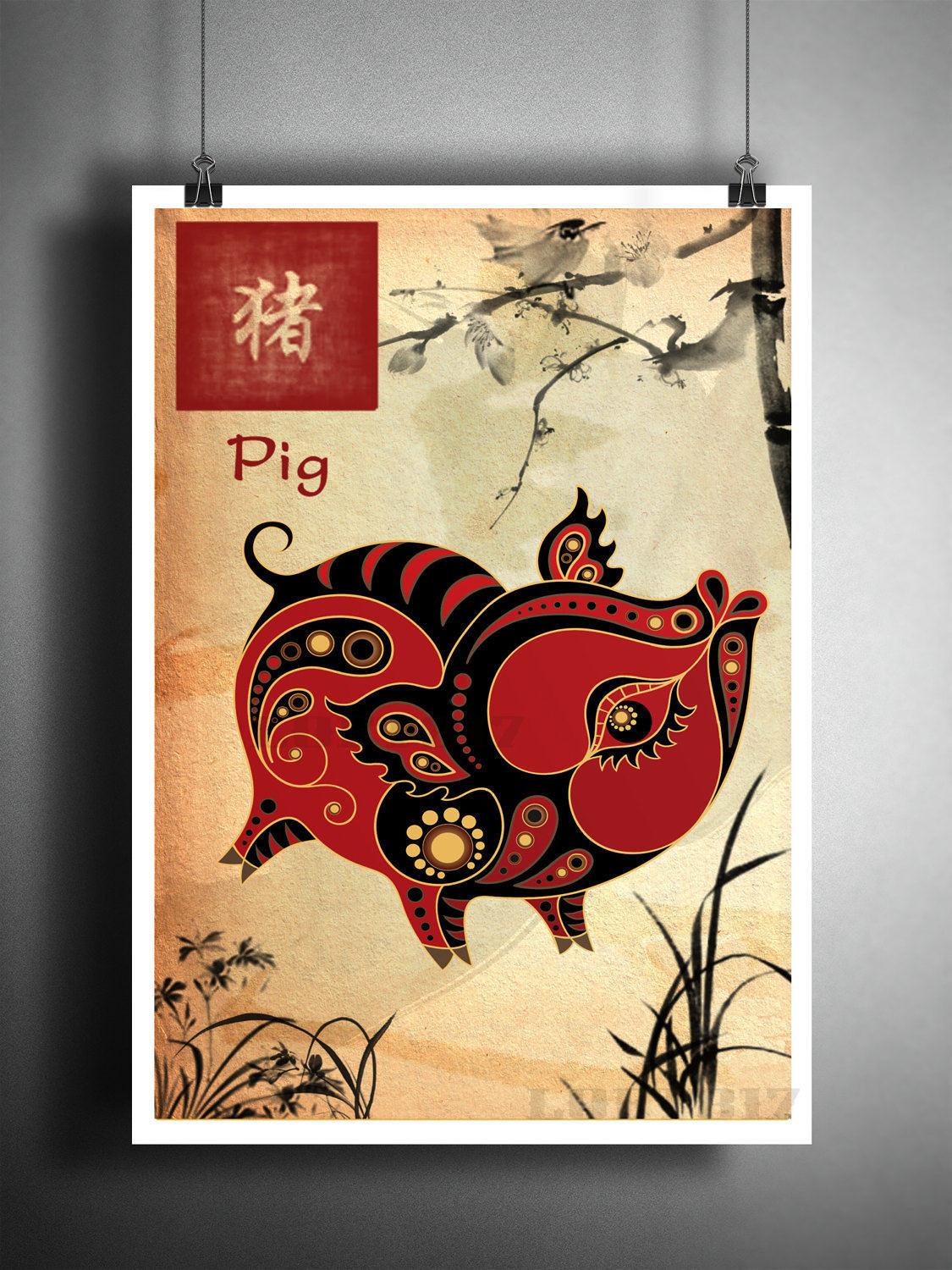 Best ideas about Asian Wall Art . Save or Pin Chinese Zodiac Pig asian wall art astrology art print Now.