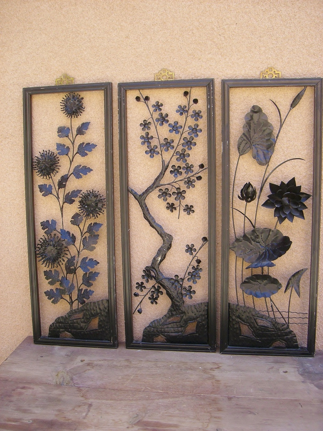 Best ideas about Asian Wall Art . Save or Pin Vintage Japanese Triptych Framed Cut Metal Wall Art Now.