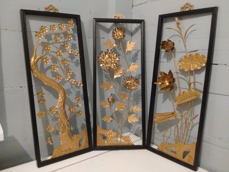 Best ideas about Asian Wall Art . Save or Pin Art Floral Framed 3D Wall Art Metal Sculpture Set Now.