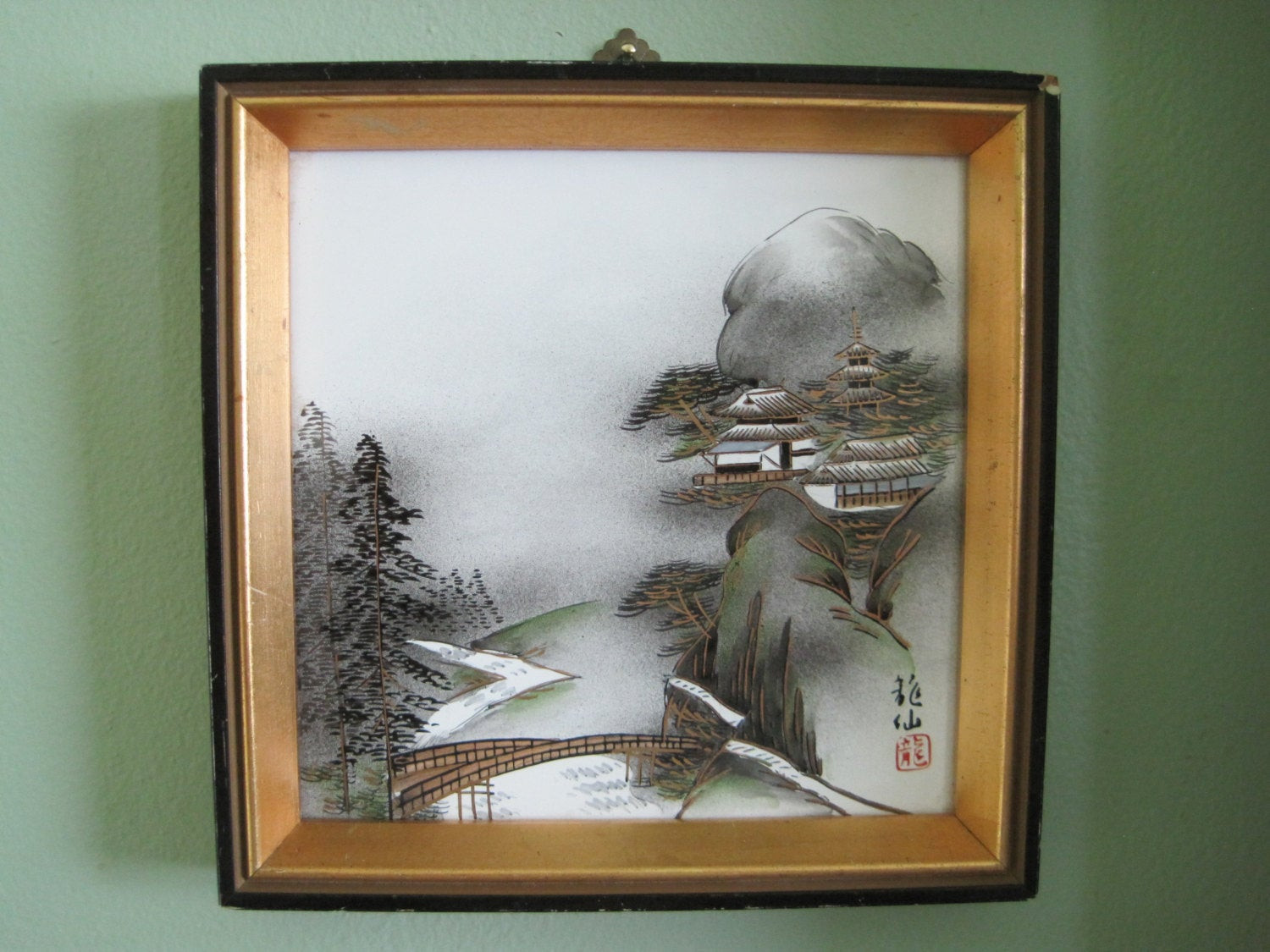 Best ideas about Asian Wall Art . Save or Pin Asian Wall Art Japanese Painting Framed on Ceramic Vintage Now.
