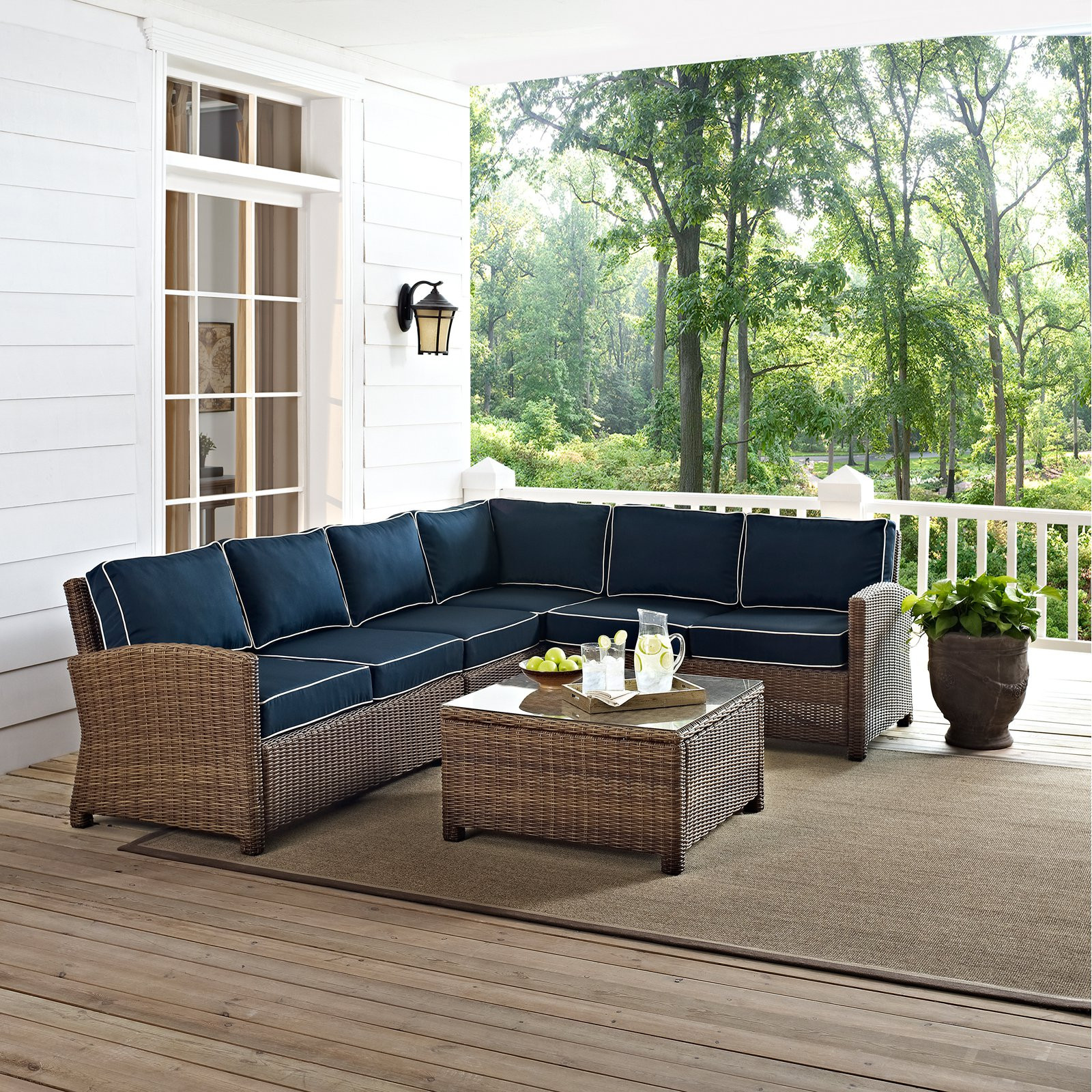 Best ideas about At Home Patio Furniture . Save or Pin Crosley Bradenton 5 Piece Outdoor Wicker Sectional Now.