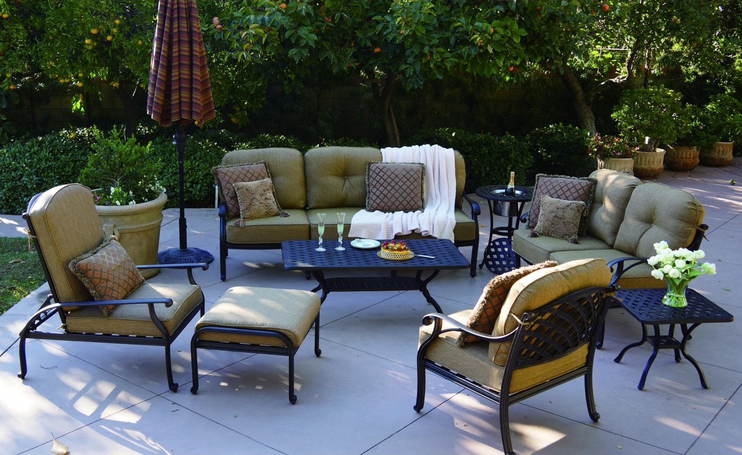Best ideas about At Home Patio Furniture . Save or Pin Patio Furniture Deep Seating Sofa Cast Aluminum Nassau Now.