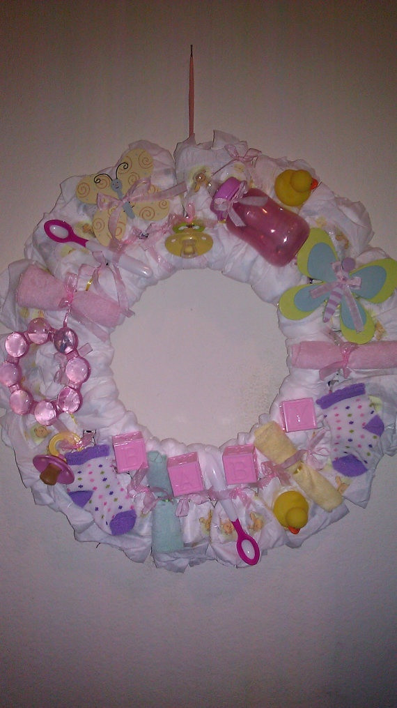 Best ideas about Baby Girl Craft . Save or Pin Baby Girl Diaper Wreath by KBWreaths on Etsy $35 00 Now.