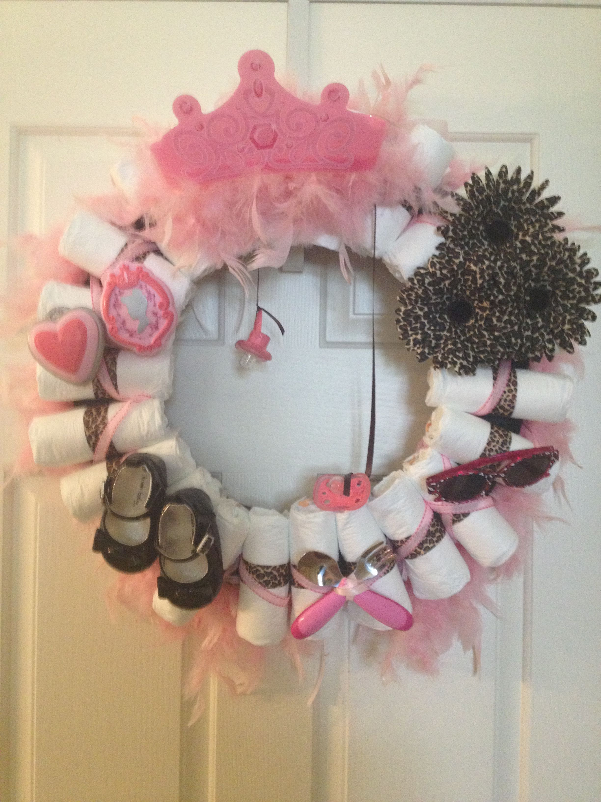 Best ideas about Baby Girl Craft . Save or Pin Diaper Wreath for a baby girl Crafts Now.