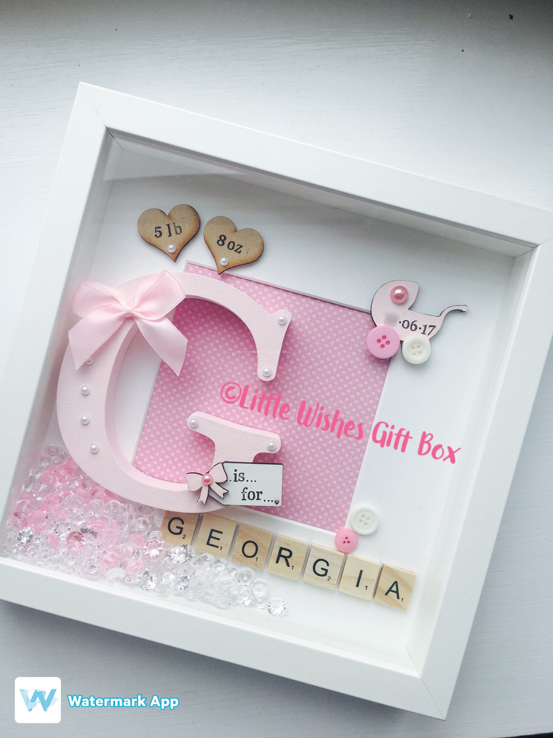 Best ideas about Baby Girl Craft . Save or Pin New Baby Girl box frame New Baby Nursery decor Now.