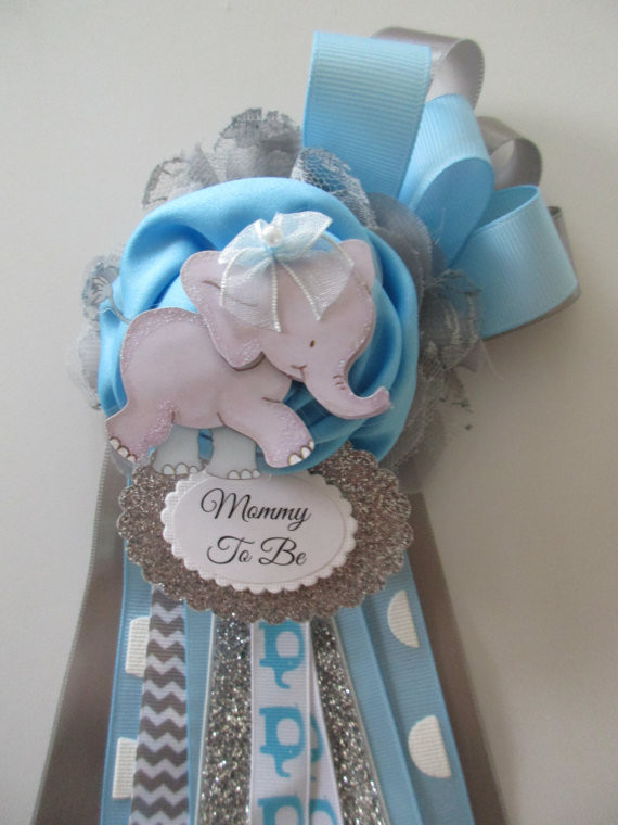 Best ideas about Baby Shower Corsages DIY . Save or Pin Elephant Mommy To Be Corsage Baby BOY Baby Shower Corsage Now.