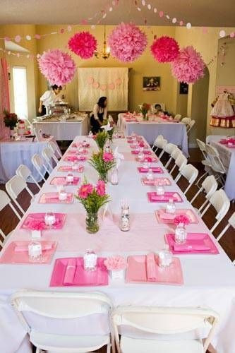 Best ideas about Baby Shower Table Decoration . Save or Pin Guest tables Decorated with white linen table clothes Now.