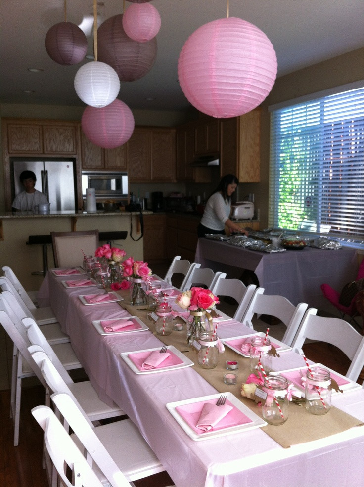Best ideas about Baby Shower Table Decoration . Save or Pin juna s baby shower table setting theme pink tan white Now.