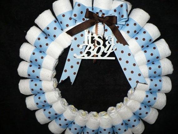 Best ideas about Baby Shower Wreath DIY . Save or Pin Diaper Wreath It s A Boy Now.