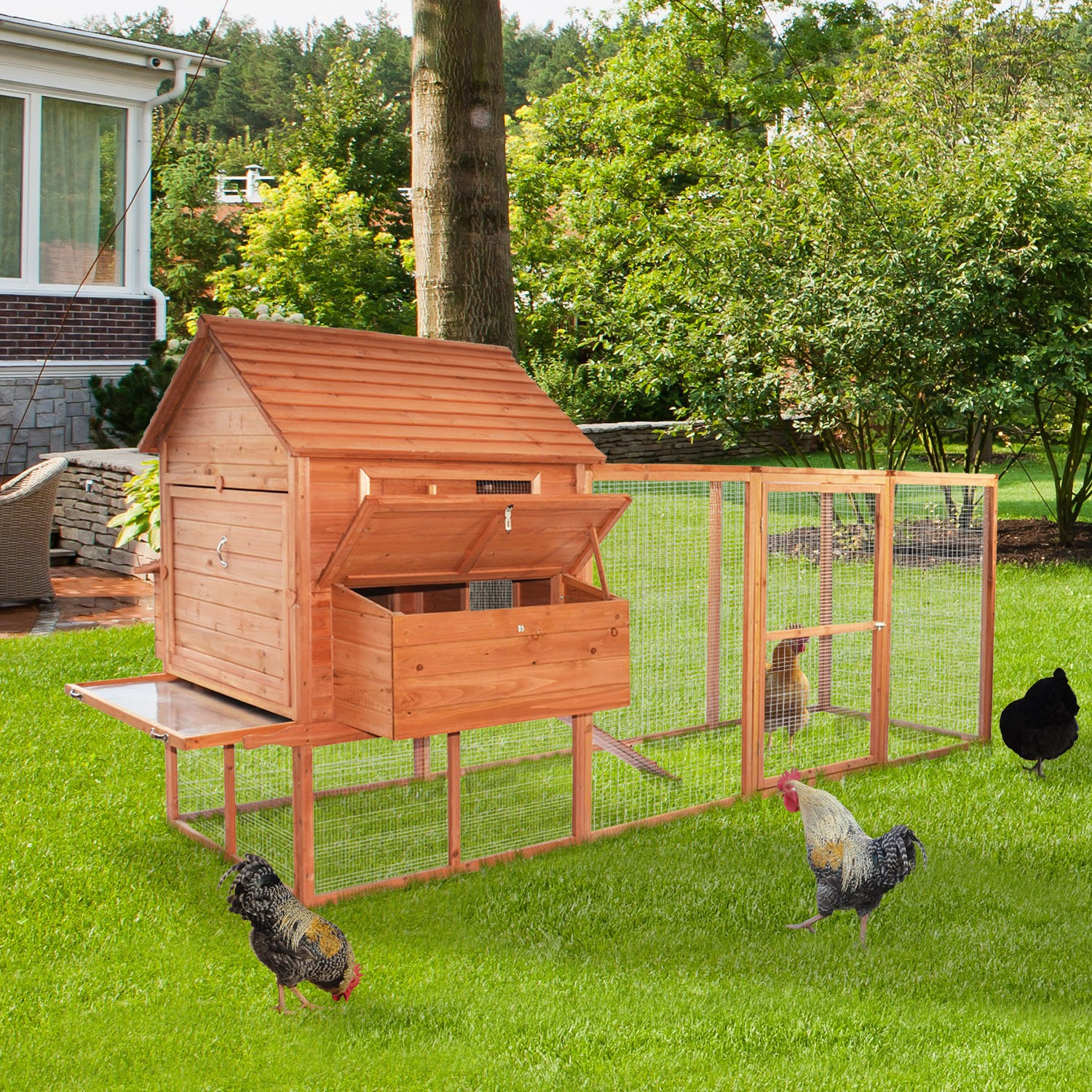 Best ideas about Backyard Chicken Coop . Save or Pin Pawhut Backyard Chicken Coop w Long Run Now.
