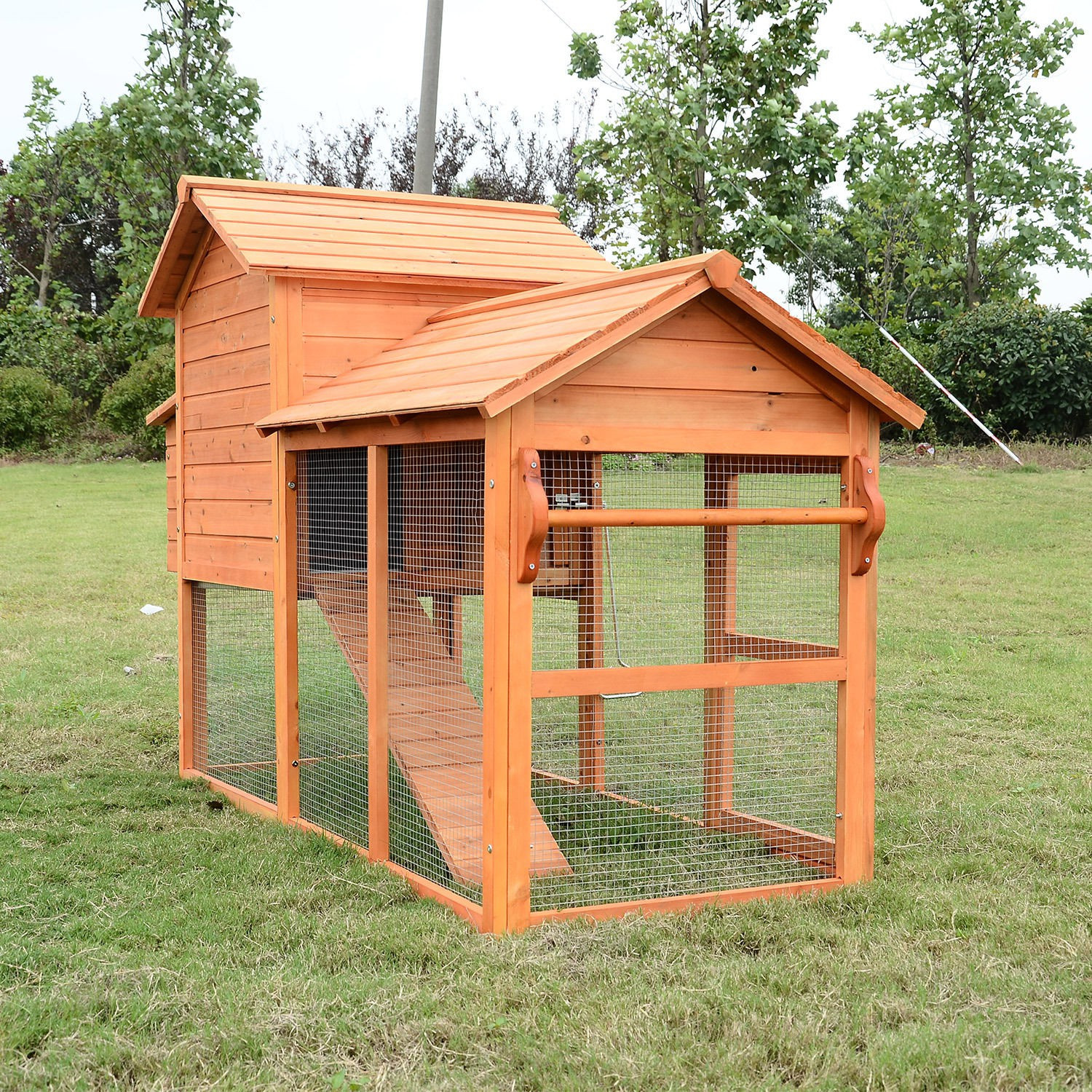 Best ideas about Backyard Chicken Coop . Save or Pin Pawhut Deluxe Backyard Chicken Coop w Outdoor Run Now.