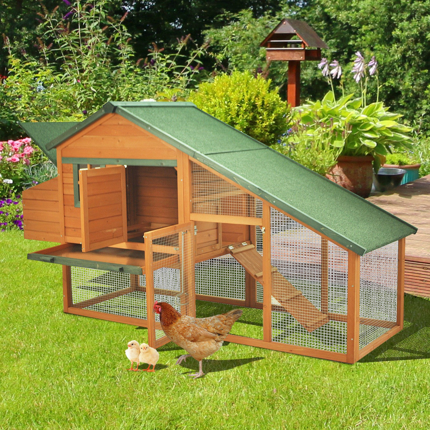 Best ideas about Backyard Chicken Coop . Save or Pin Pawhut Deluxe Backyard Wooden Chicken Coop w Run Now.