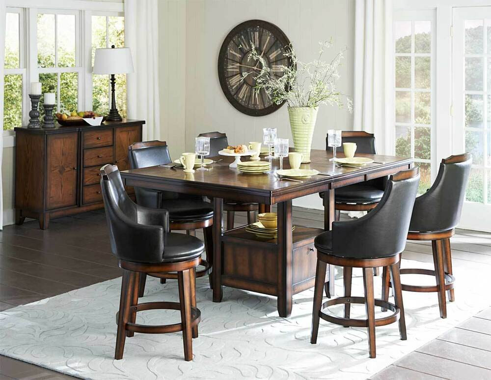 Best ideas about Bar Height Dining Table . Save or Pin COUNTER HEIGHT BURNISHED DINING TABLE SWIVEL PUB CHAIRS Now.
