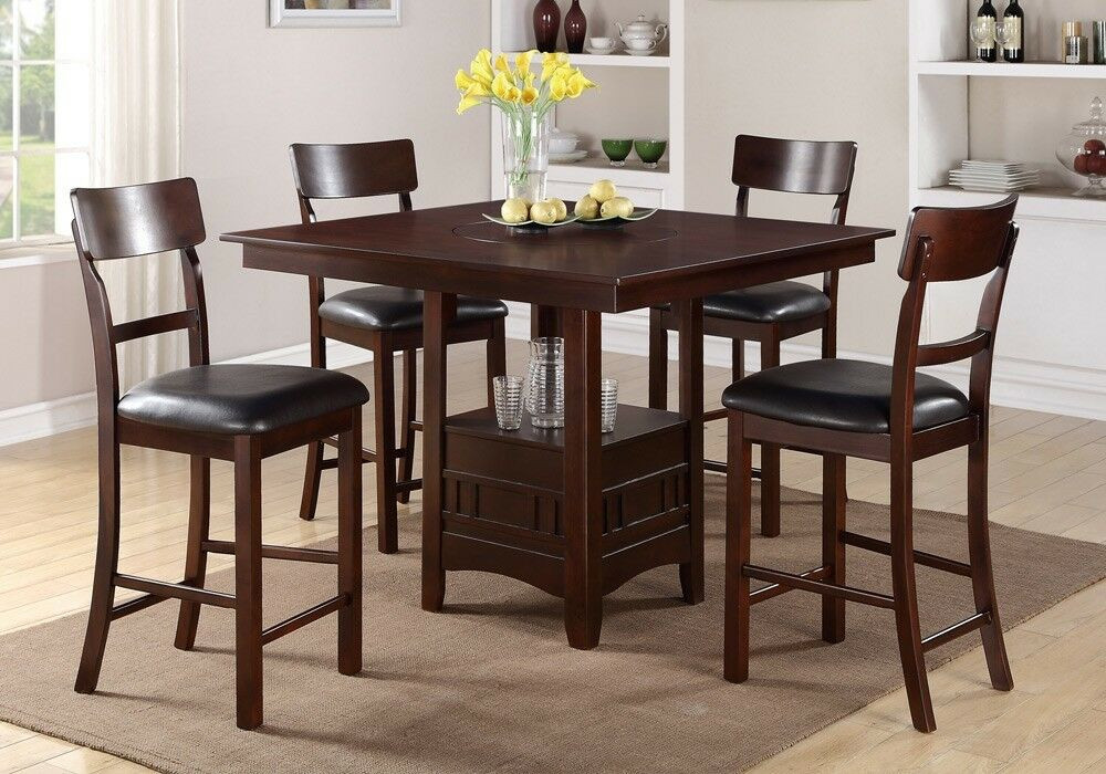 Best ideas about Bar Height Dining Table . Save or Pin Modern 5 Pcs Counter Height Dining Set Built in Lazy Susan Now.