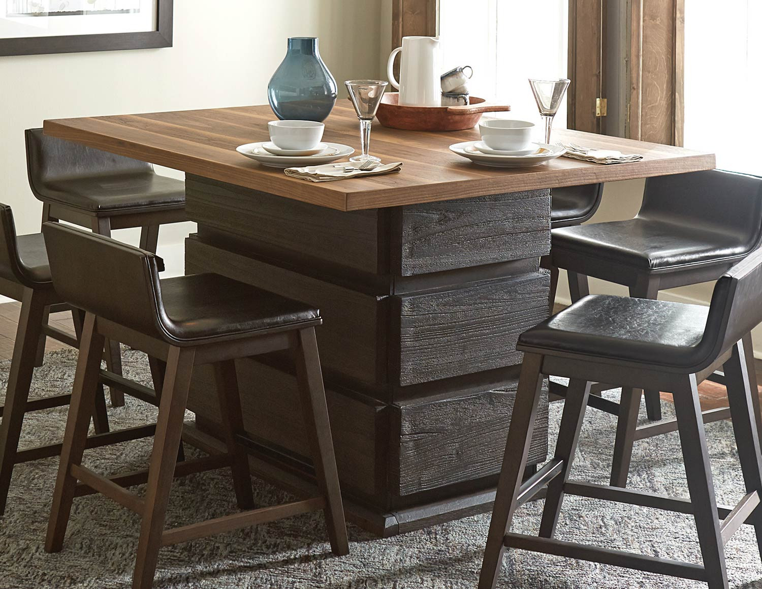 Best ideas about Bar Height Dining Table . Save or Pin Homelegance Rochelle Counter Height Dining Table Dark Now.