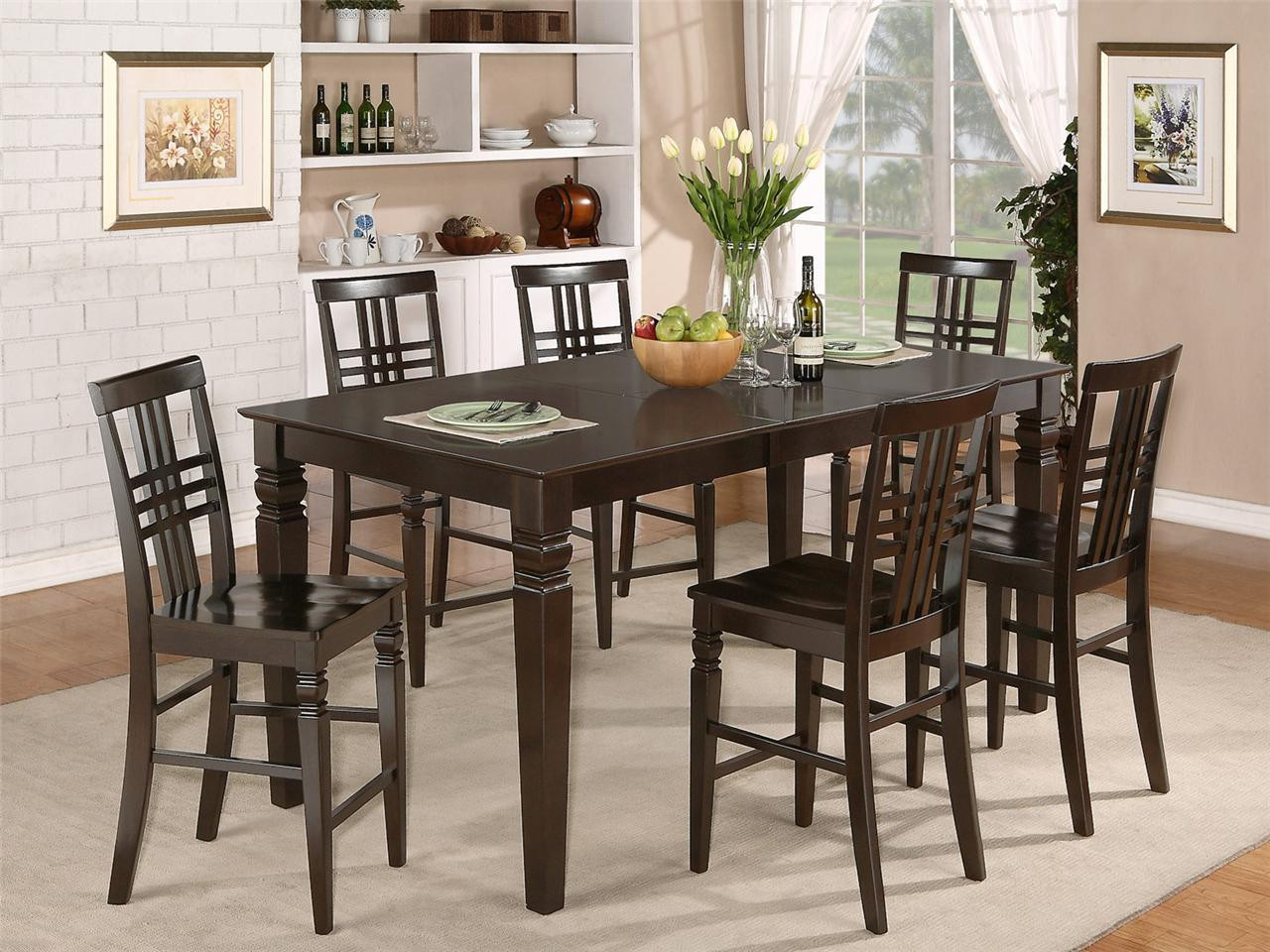 Best ideas about Bar Height Dining Table . Save or Pin 7PC RECTANGULAR COUNTER HEIGHT DINING ROOM TABLE SET & 6 Now.