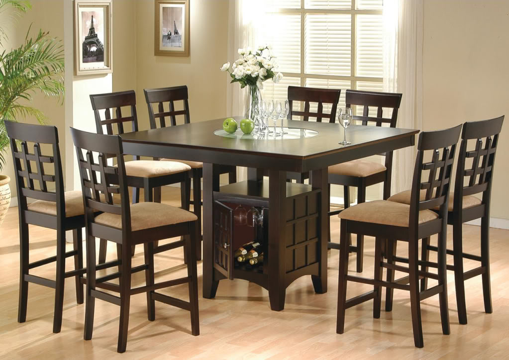 Best ideas about Bar Height Dining Table . Save or Pin 9 Piece Dining Room Set Table Counter Height Lazy Susan Now.