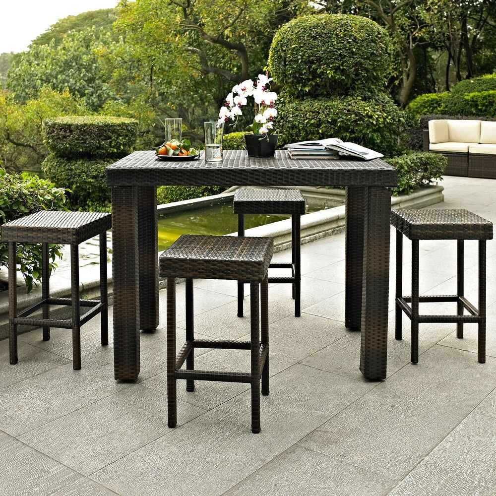 Best ideas about Bar Height Patio Furniture . Save or Pin Patio Dining Set 5 pc Bar Height Garden Furniture Outdoor Now.