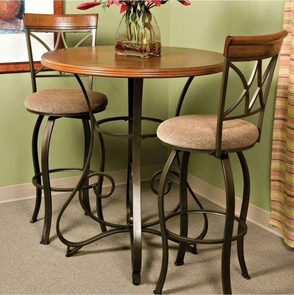 Best ideas about Bar Table And Chairs . Save or Pin Pub Table Bar Counter Height Cherry Wood Bronze Metal Now.