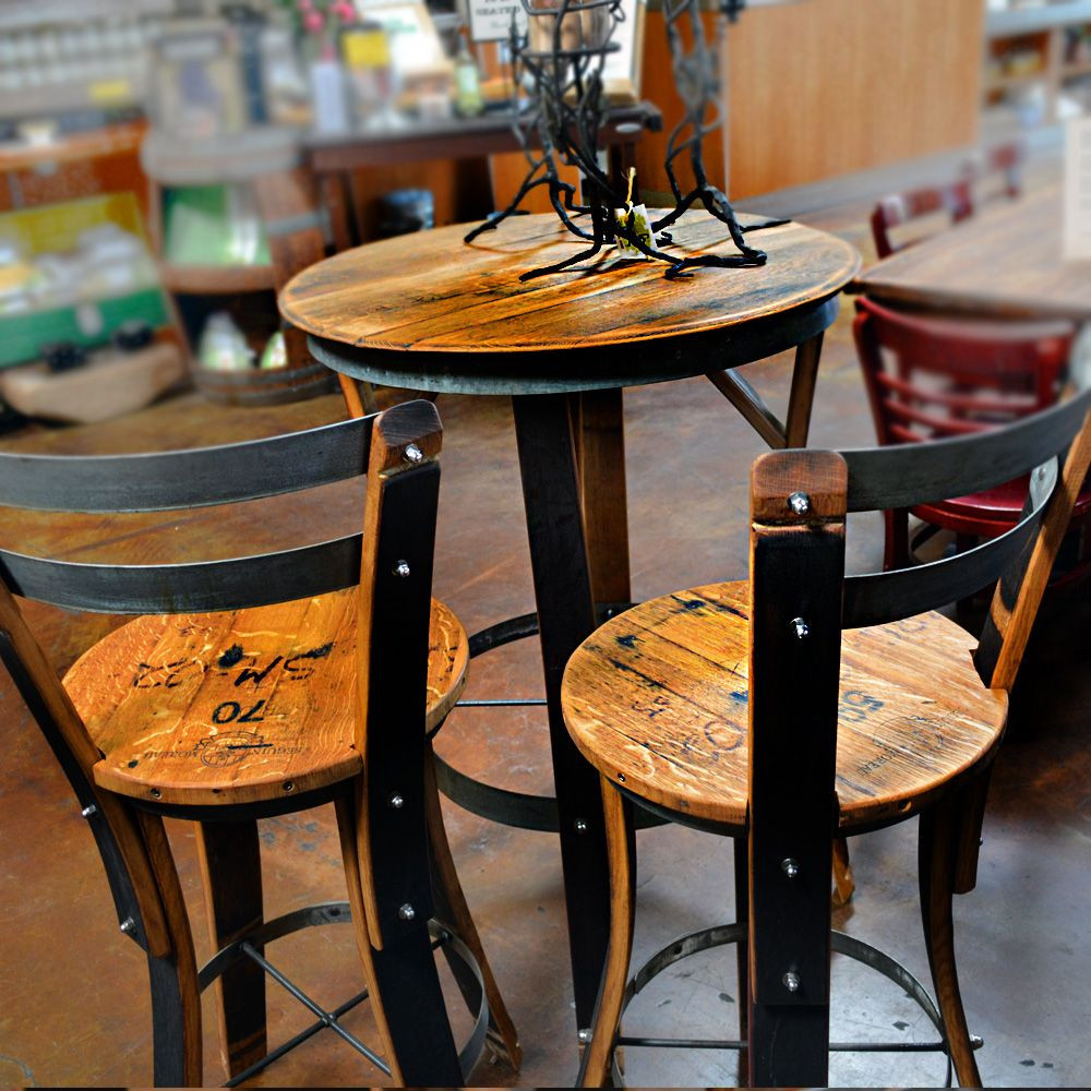 Best ideas about Bar Table And Chairs . Save or Pin Effigy of High Top Table Sets Wine Barrel Ideas Now.