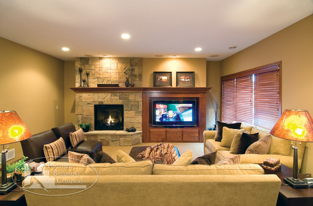 Best ideas about Basement Family Rooms Ideas . Save or Pin Basement TV & Fireplace Traditional Family Room Now.