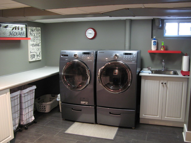 Best ideas about Basement Laundry Rooms . Save or Pin Basement Traditional Laundry Room montreal by Now.