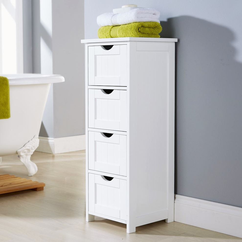 Best ideas about Bathroom Cabinet Storage . Save or Pin SHAKER STYLE 4 DRAWER BATHROOM CABINET STANDING STORAGE Now.