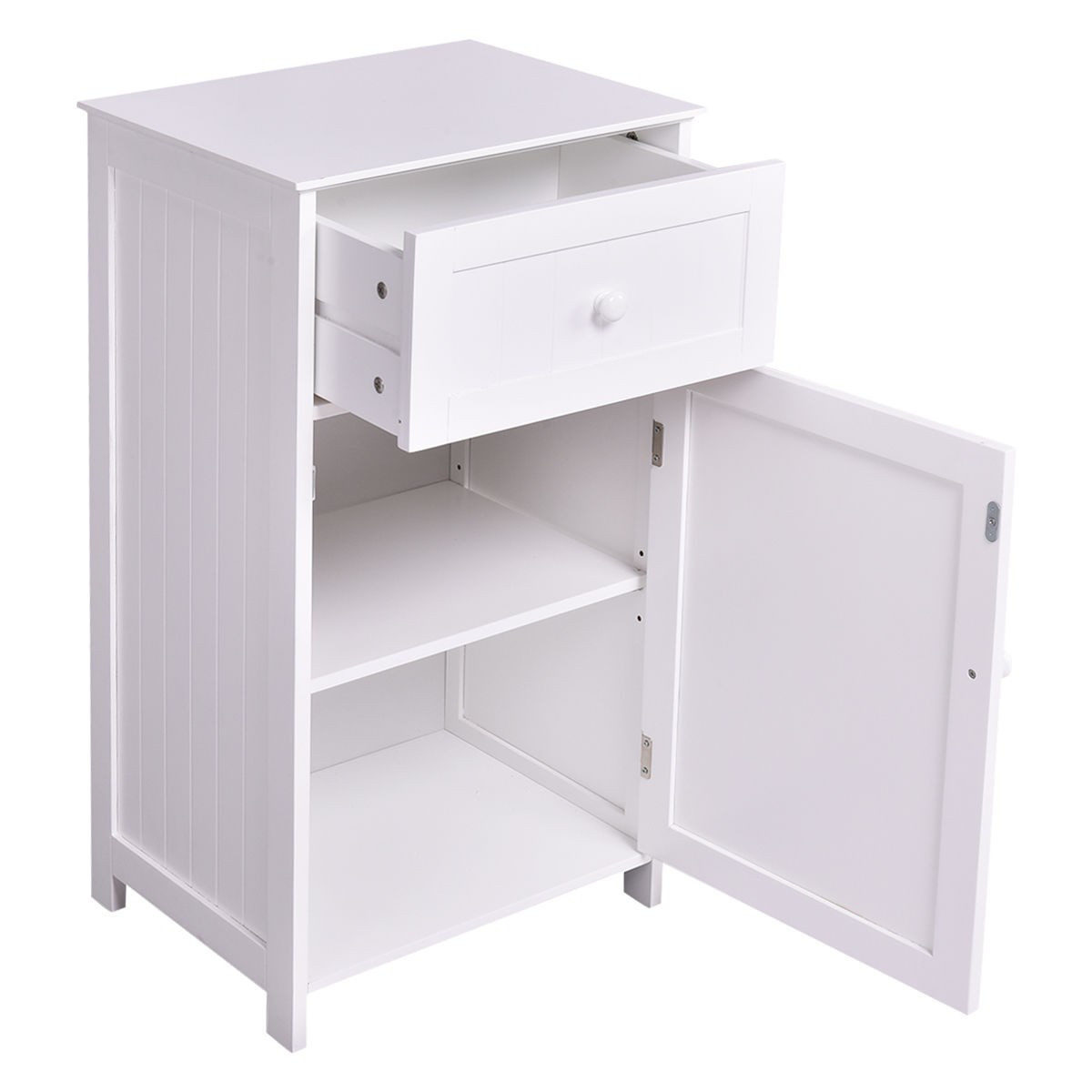 Best ideas about Bathroom Cabinet Storage . Save or Pin Kitchen Bathroom Storage Cabinet Floor Stand White Wood Now.