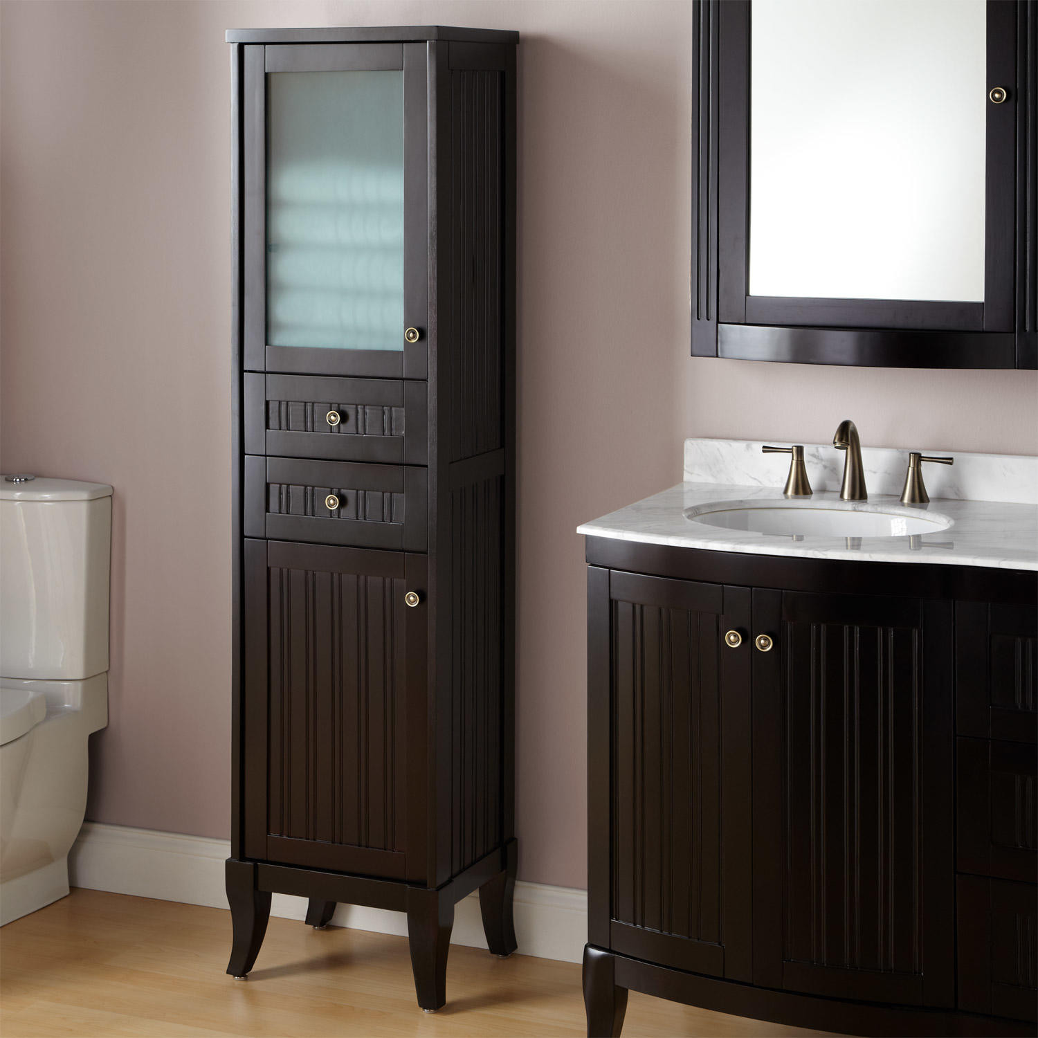 """Best ideas about Bathroom Cabinet Storage . Save or Pin 72"""" Unfinished Mission Linen Cabinet Bathroom Now."""