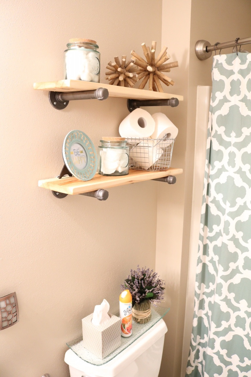 Best ideas about Bathroom Decorating Ideas DIY . Save or Pin DIY Rustic Industrial Bathroom Shelves and Beach Decor Now.