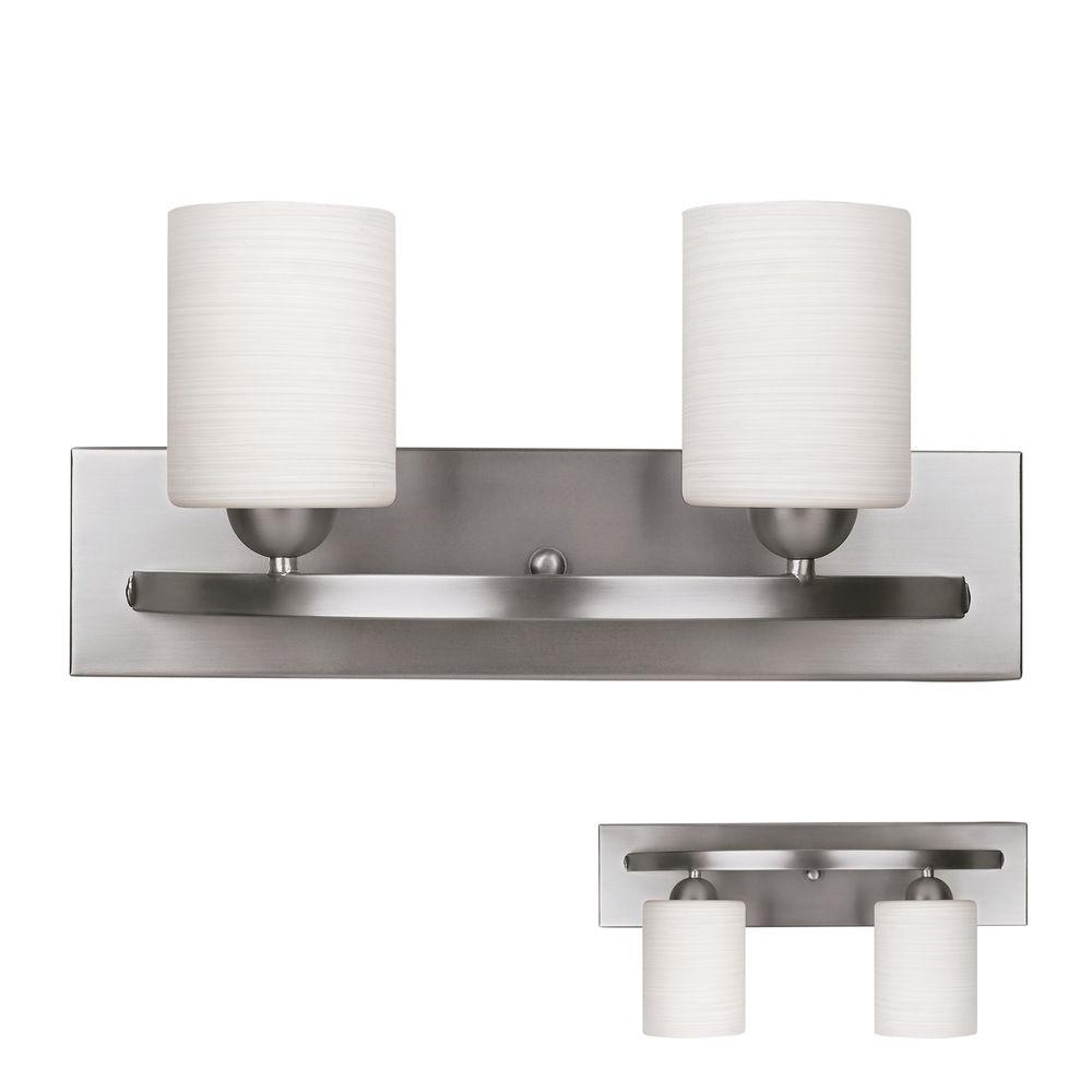 Best ideas about Bathroom Light Bar . Save or Pin Brushed Nickel 2 Globe Vanity Bath Light Bar Interior Now.