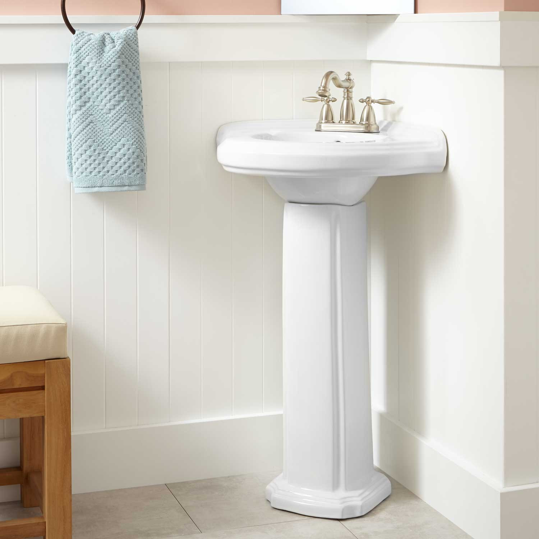 Best ideas about Bathroom Pedestal Sink . Save or Pin Gaston Corner Porcelain Pedestal Sink Bathroom Now.