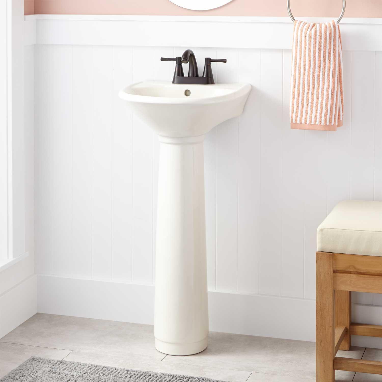 Best ideas about Bathroom Pedestal Sink . Save or Pin Farnham Porcelain Mini Pedestal Sink Bathroom Now.