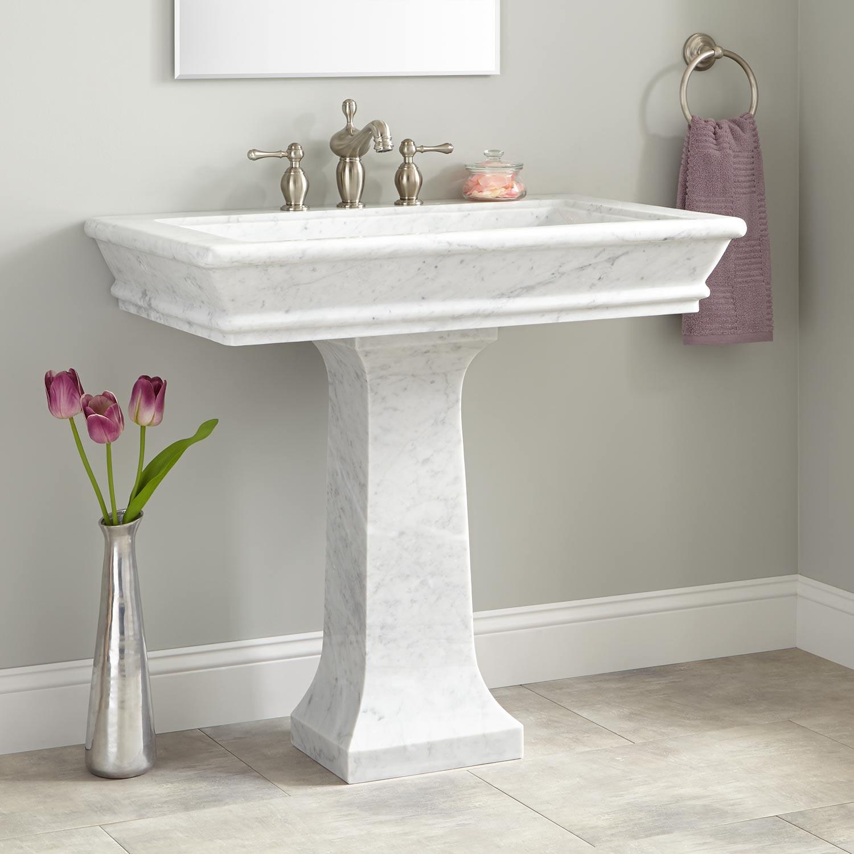 "Best ideas about Bathroom Pedestal Sink . Save or Pin 36"" Polished Carrara Marble Pedestal Sink Bathroom Sinks Now."