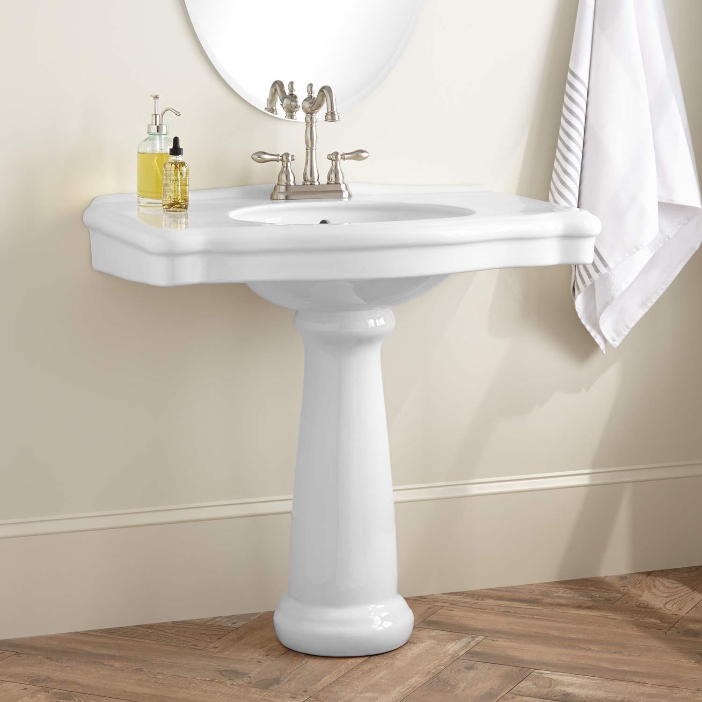 Best ideas about Bathroom Pedestal Sink . Save or Pin Carden Porcelain Pedestal Sink Bathroom Now.