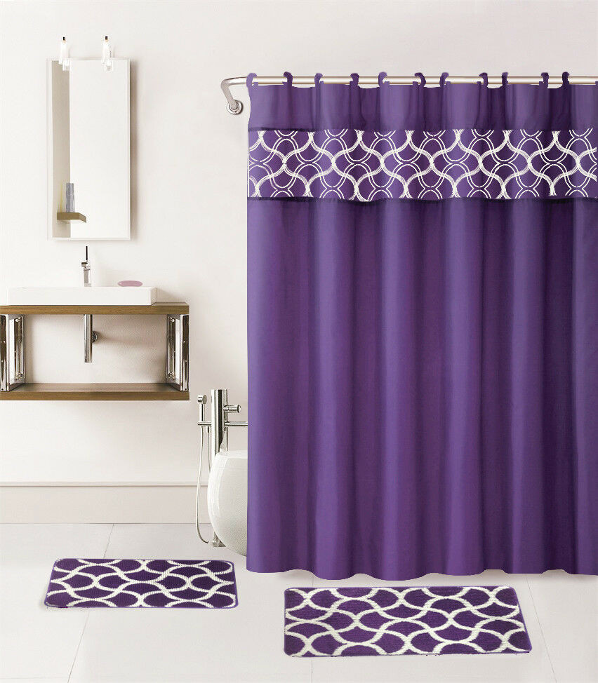 Best ideas about Bathroom Sets With Shower Curtain . Save or Pin 15PC PURPLE GEOMETRIC BATHROOM SET 2 BATH MATS 1 SHOWER Now.