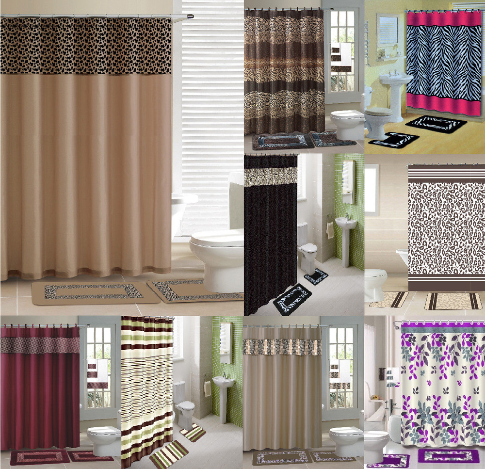 Best ideas about Bathroom Sets With Shower Curtain . Save or Pin 15PC SHOWER CURTAIN MATCHING FABRIC HOOKS BATH MATS RUGS Now.