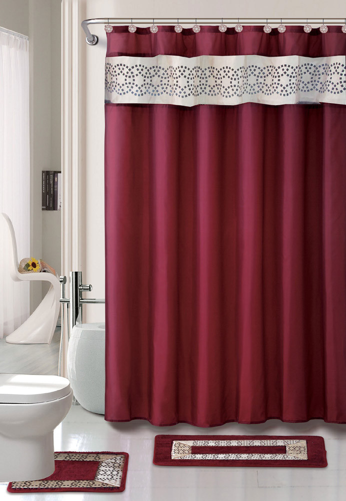 Best ideas about Bathroom Sets With Shower Curtain . Save or Pin Contemporary Bath Shower Curtain 15 Pcs Modern Bathroom Now.