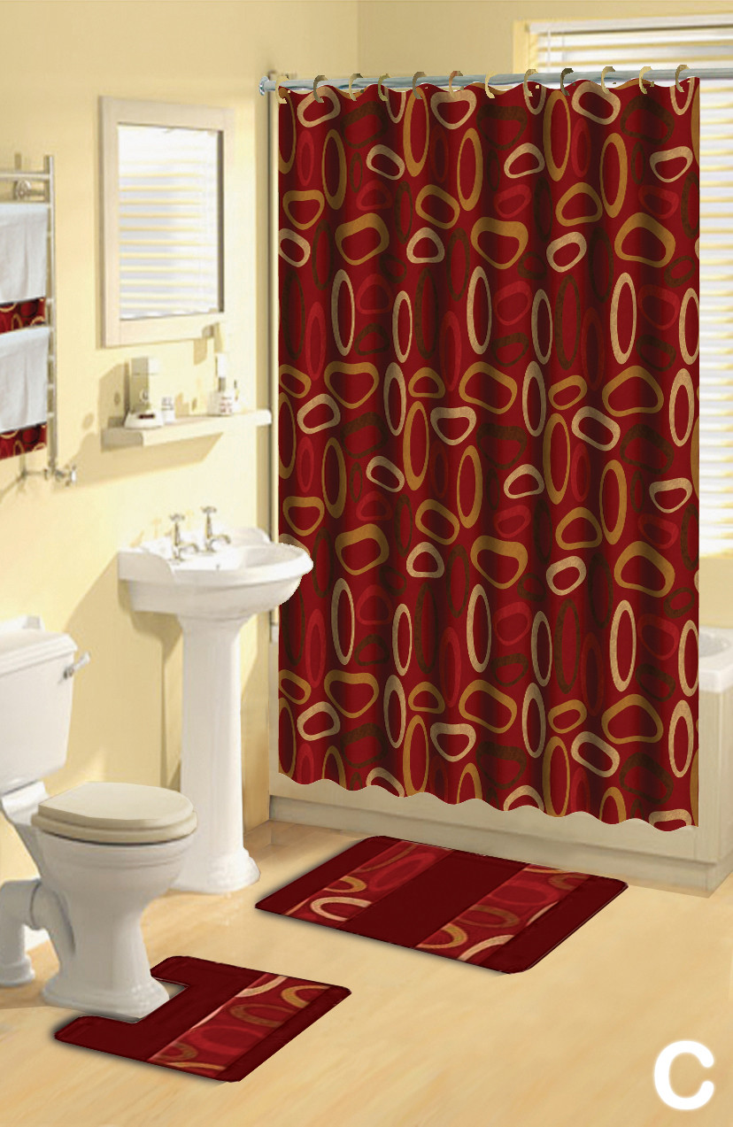 Best ideas about Bathroom Sets With Shower Curtain . Save or Pin Shower Curtains 17 pcs Set Contemporary Bath Mat Contour Now.