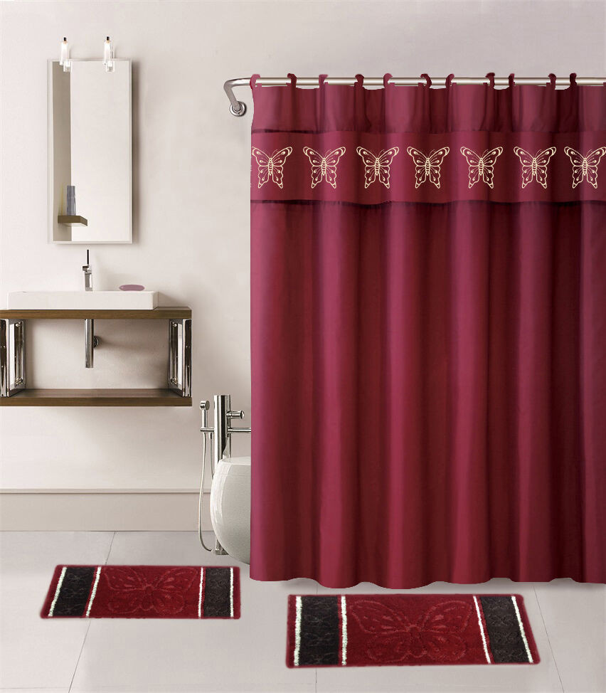 Best ideas about Bathroom Sets With Shower Curtain . Save or Pin 15PC BURGUNDY BUTTERFLY BATHROOM SET BATH MATS SHOWER Now.