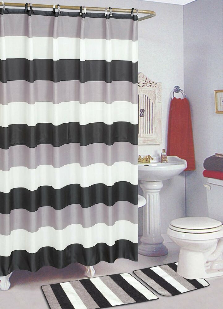 Best ideas about Bathroom Sets With Shower Curtain . Save or Pin Black & White 15 Piece Bathroom Set Bath Rugs Shower Now.