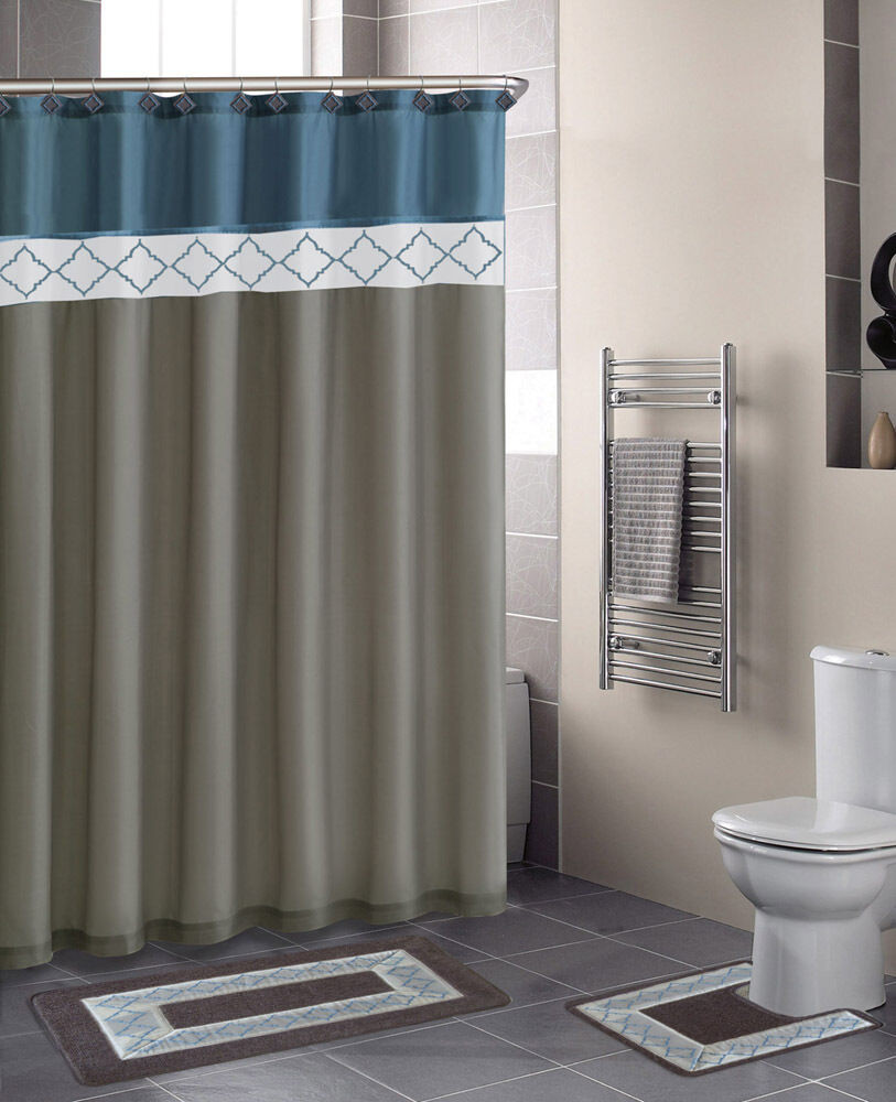 Best ideas about Bathroom Sets With Shower Curtain . Save or Pin Beige Blue Modern Shower Curtain 15 Pcs Bath Rug Mat Now.